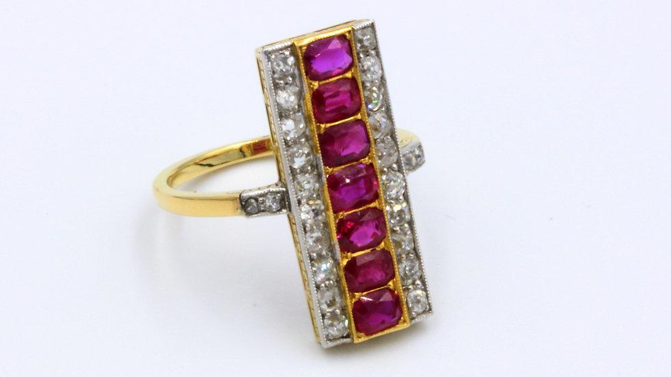 18ct Gold Art Deco Ruby & Diamond Ring