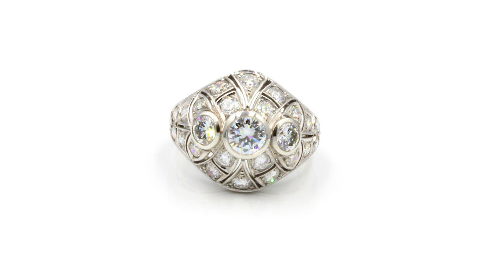 WOW! 1940s Platinum Diamond Bombe Ring