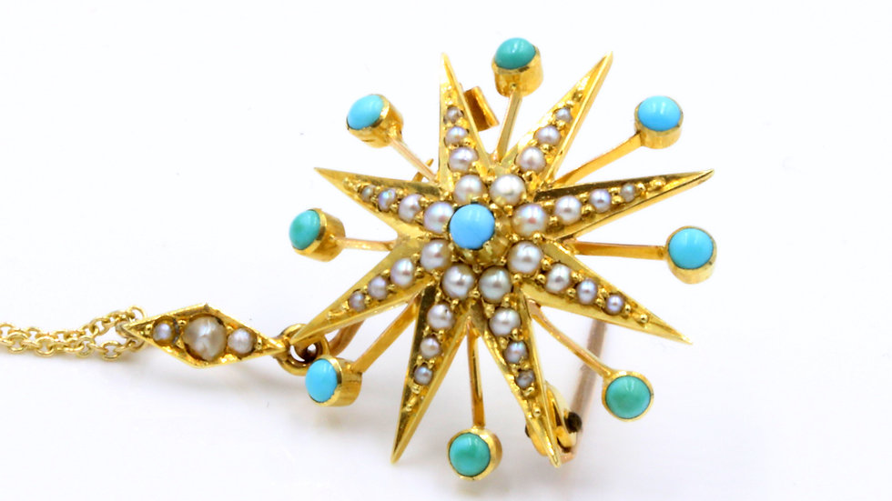 15ct Turquoise Pearl Starburst Pendant/Brooch