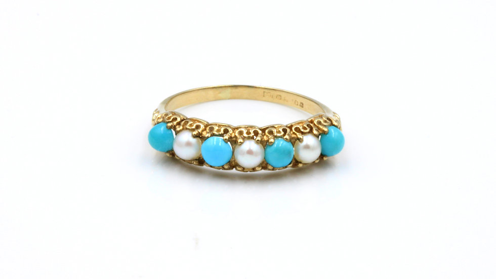 Vintage 18ct Turquoise Pearl Ring