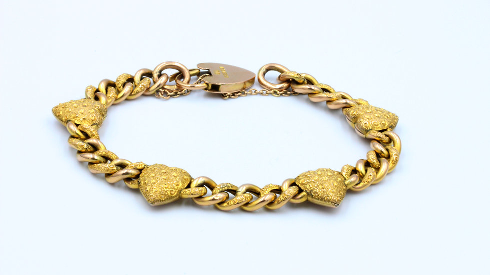 9ct Heart Day and Night Bracelet