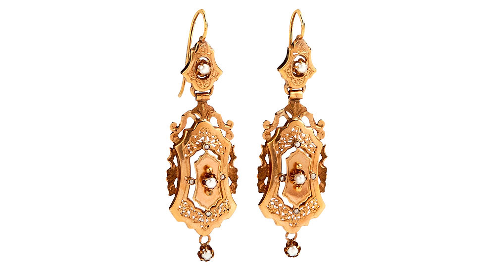 Antique 18ct Rose Gold Pearl Drop Earrings