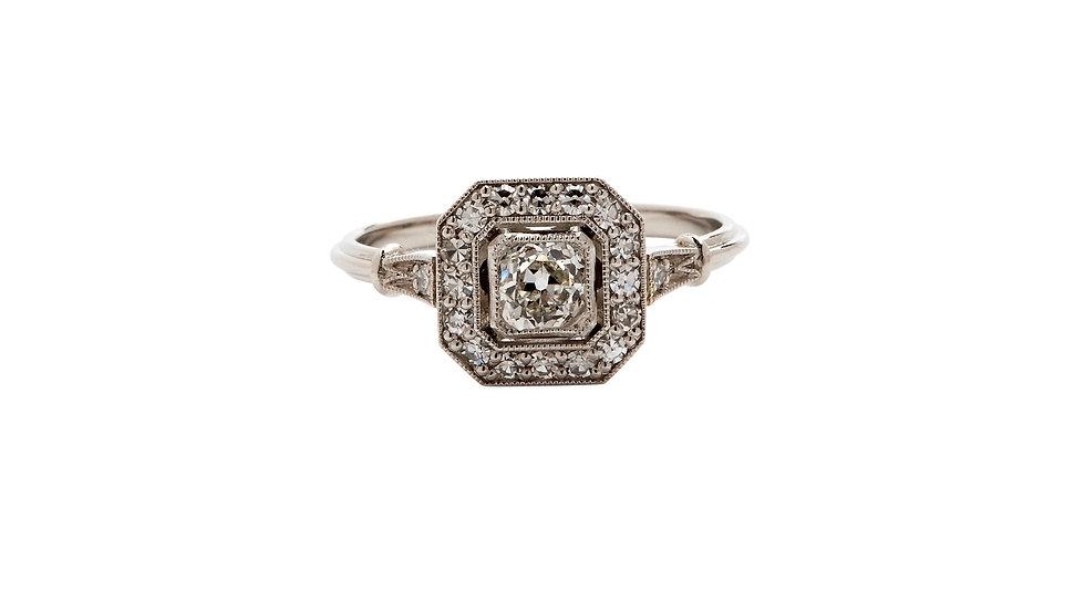 Art Deco Style Platinum Diamond Halo Ring