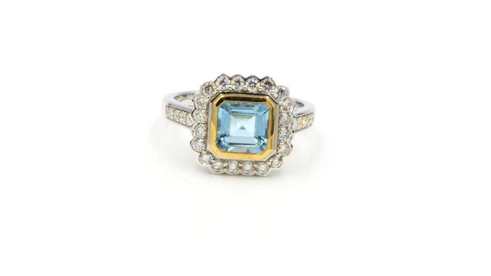 9ct Aquamarine Diamond Cluster Ring