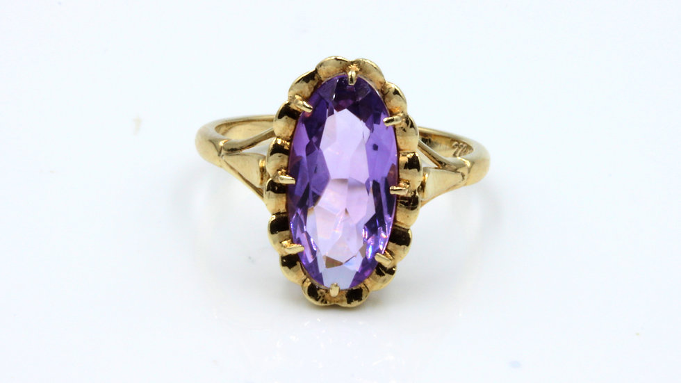 Vintage 9ct Oval Amethyst Ring