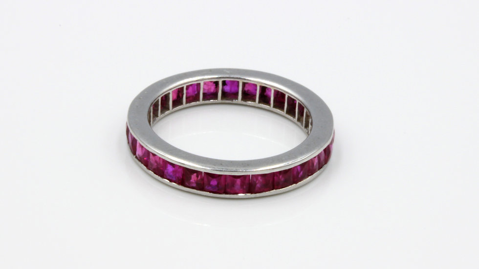 Vintage 18ct White Gold Ruby Eternity Band