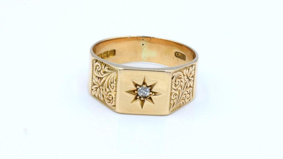 9ct Rose Gold Diamond Signet Ring Birmingham 1928