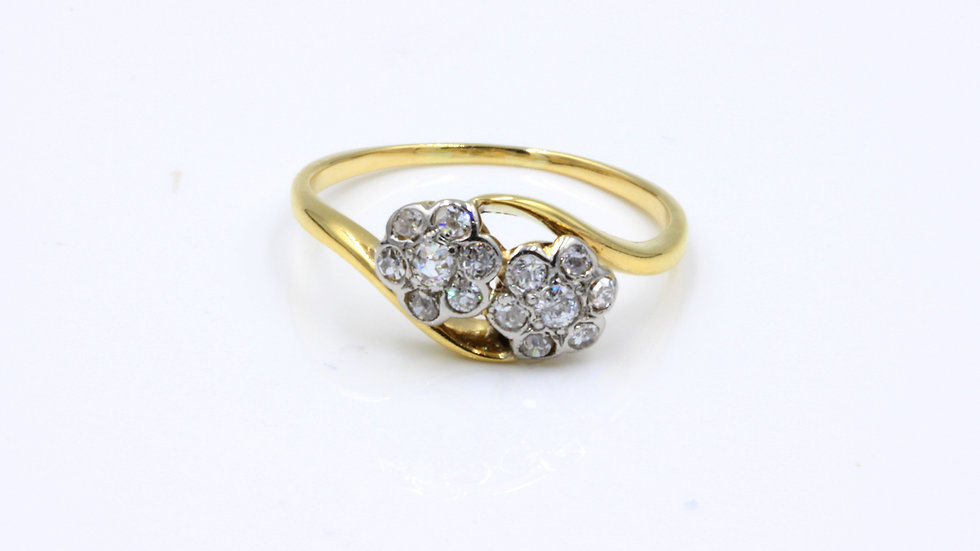 Antique 18ct Double Daisy Cluster Ring