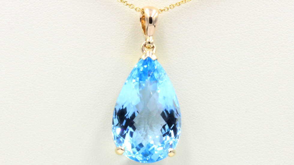 9ct Blue Topaz Pear Pendant