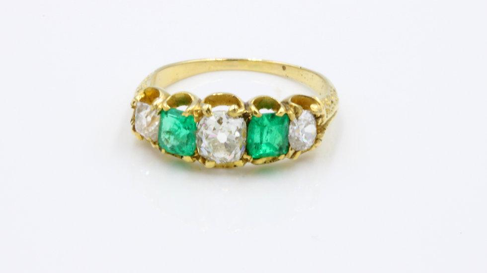 Victorian 18ct Emerald Diamond Ring