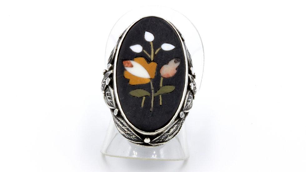 Art Nouveau Long Silver Pietra Dura Flower Ring