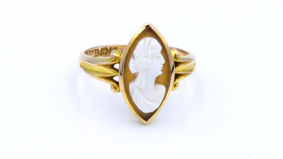 9ct Victorian Cameo Ring Birmingham  1867
