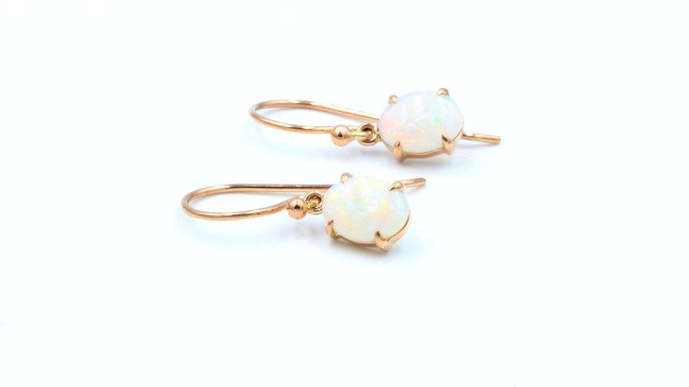 9ct Rose Gold Opal Drop Earrings