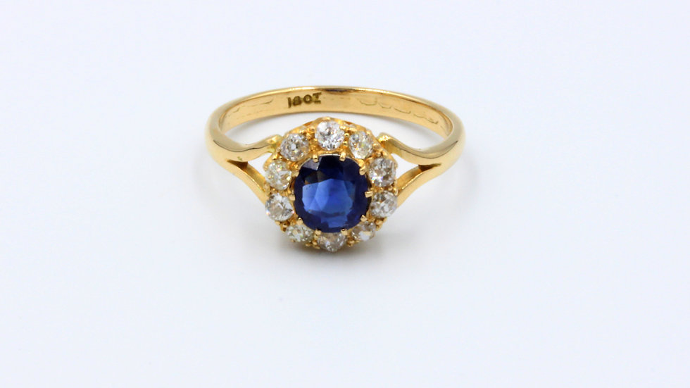 18ct Victorian Sapphire Diamond Cluster Ring