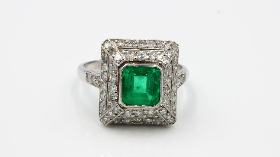 French Art Deco Emerald Diamond Cocktail Ring