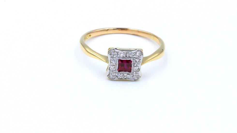 Art Deco 18ct Platinum Ruby Diamond Ring