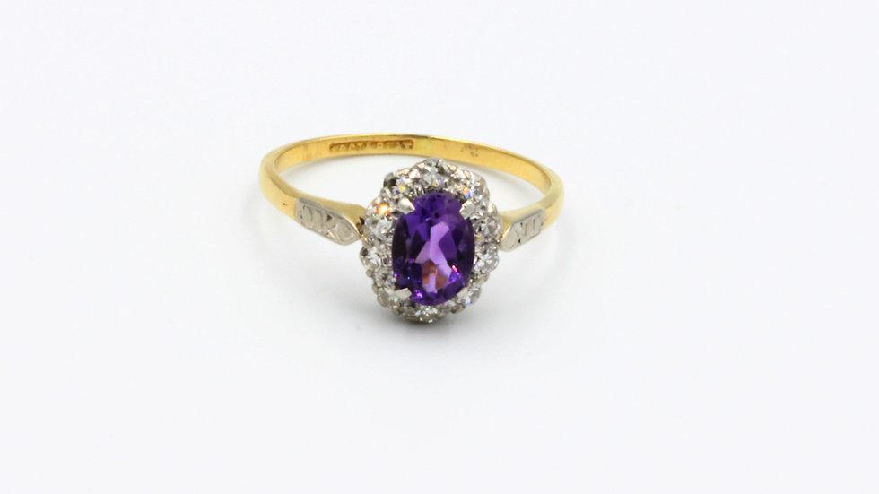 18ct Platinum Amethyst Diamond Cluster Ring