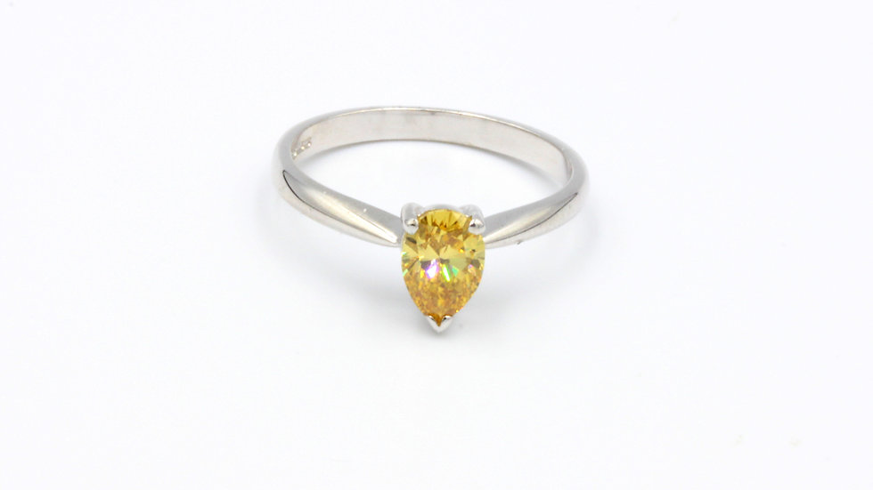 18ct White Gold Yellow Pear Shaped Diamond Ring