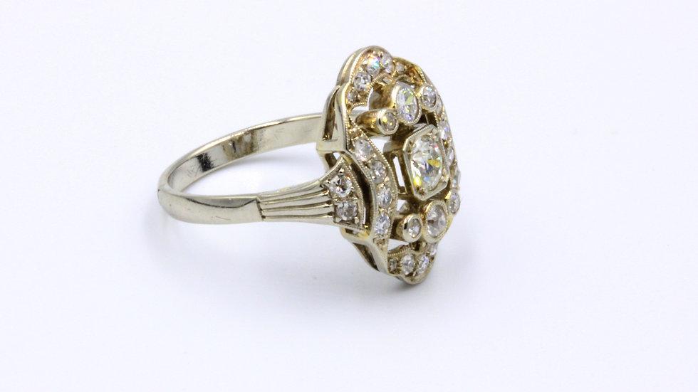 14ct White Gold Art Deco Diamond Ring