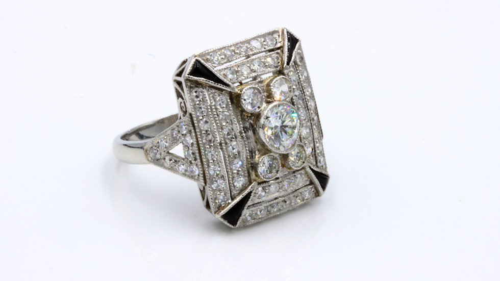 Art Deco Masterpiece!  Platinum, Diamond & Onyx Ring