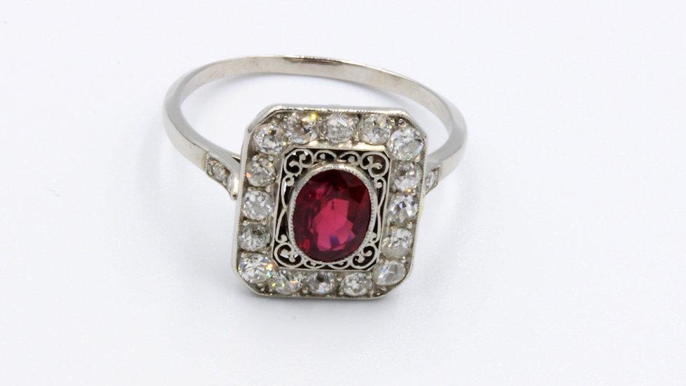 French Platinum Art Deco Ruby Diamond Ring