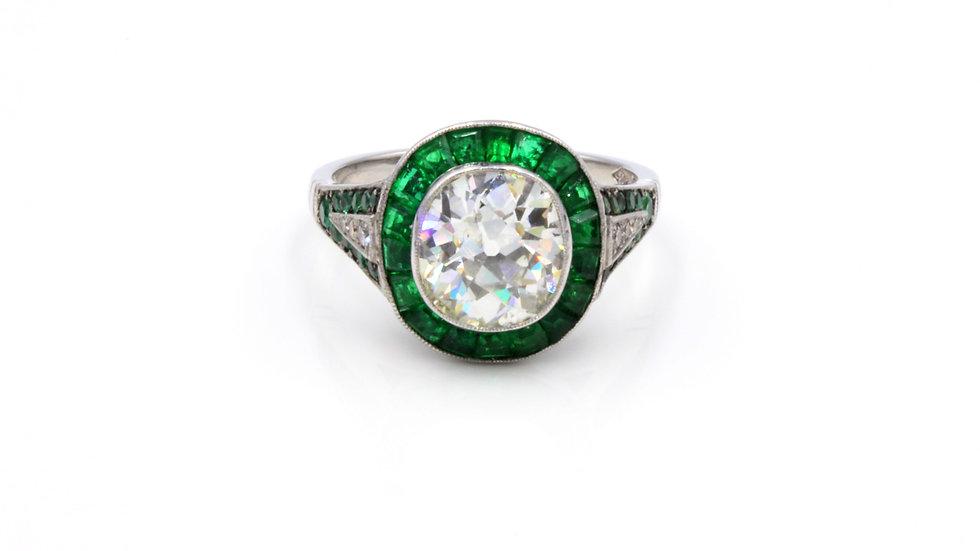 WOW! Vintage Platinum Emerald and Diamond Stunner!