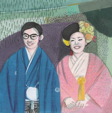 Miyajima's bride and groom