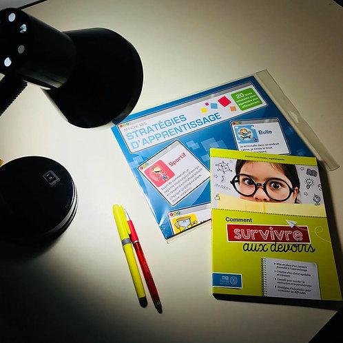 Ensemble Affiche Stratégies d'apprentissage & Livre Survivre aux devoirs