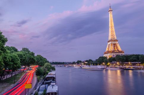 Eiffel tower lit up