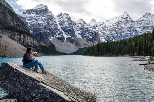 Moraine lake with my pup!