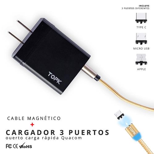 Cargador 3 puertos  + cable magnético 1 metro