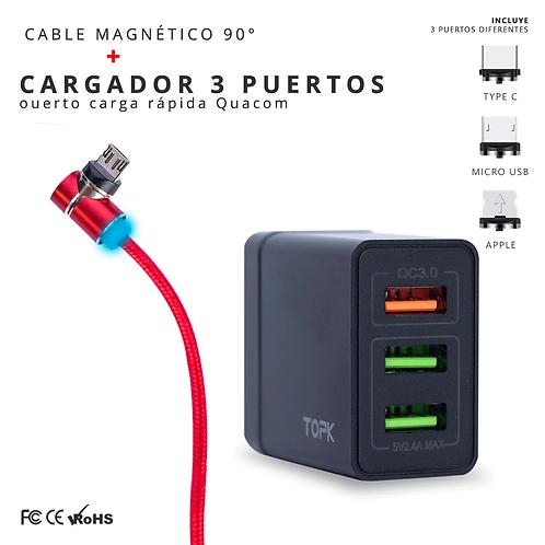 Cargador 3 puertos + cable magnético 90° de2 metros
