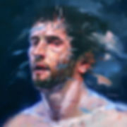 Lance Hewison figure painting contemporary art oil on canvas gay artist haunting stare athlete