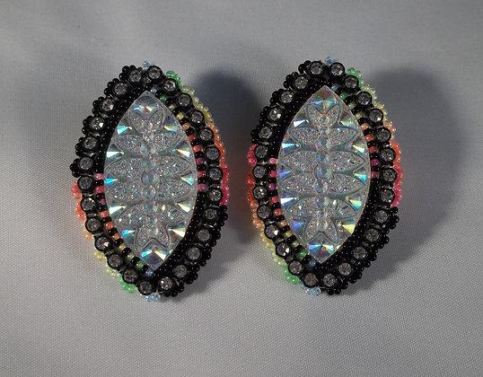 Neon Black Post Earrings