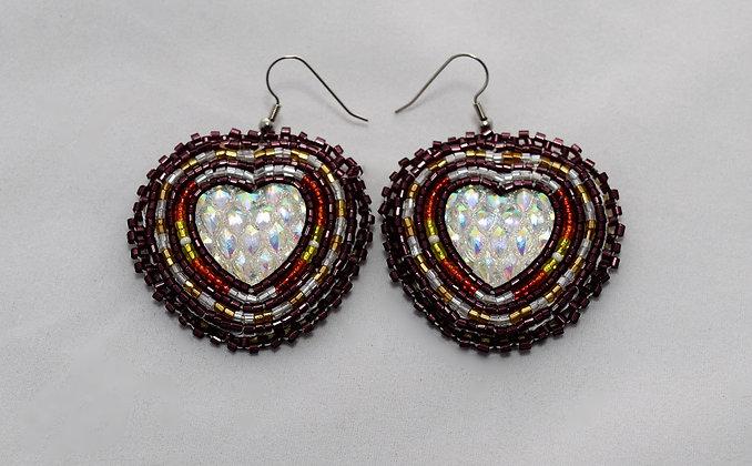 Maroon Bling Heart Earrings