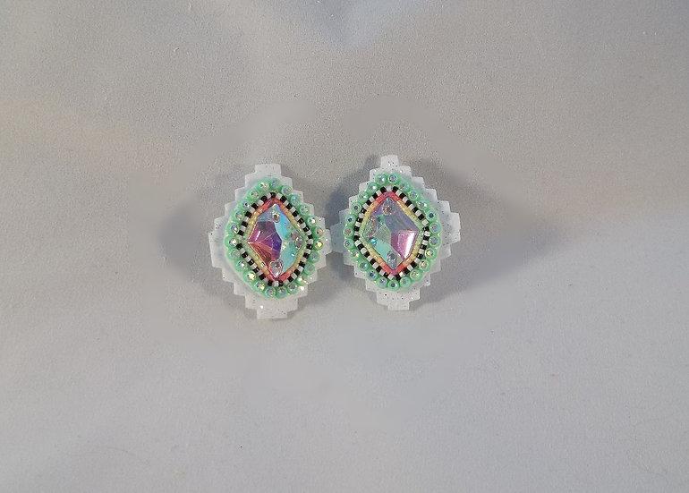 Green Post Earrings-Felt Design