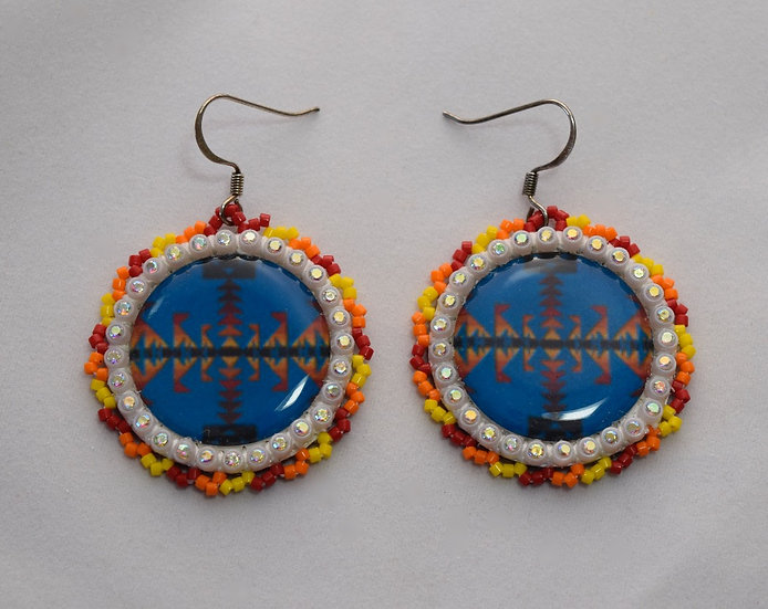 Blue and Starburst Bling Earrings