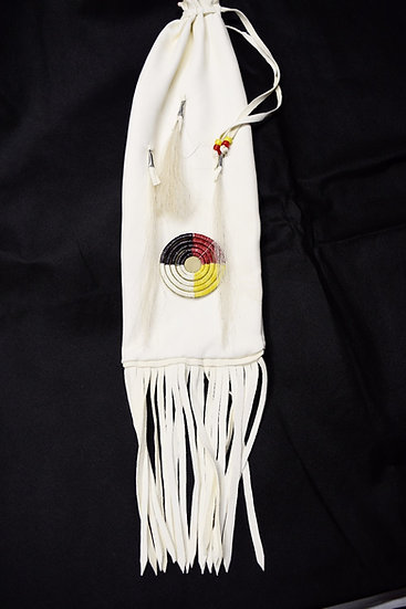 White Leather Pipe/Flute Bag