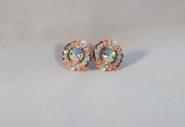 Small Post Earrings-Orange