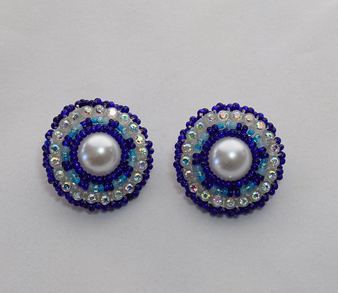 Small Dark Blue Bling Earrings