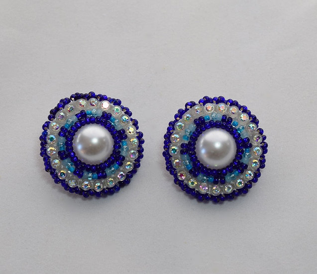 Small Dark Blue Bling Earrings