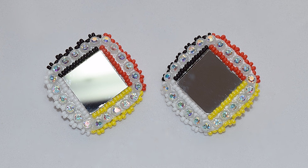 Four Direction Color Mirror Bling Earrings