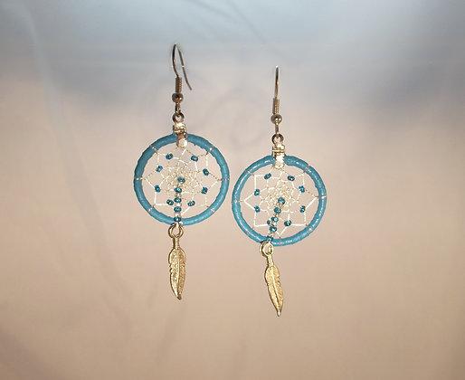Turquoise-Blue Dream Catcher Earrings