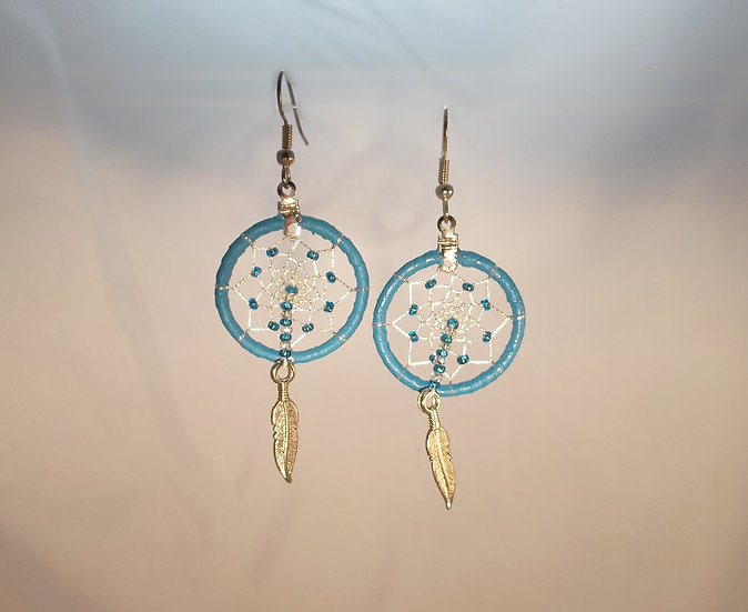 Turquoise-Blue Dream Catcher Earrings