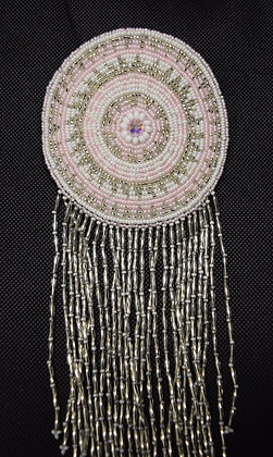 Round Pink and Silver Beaded Barrette