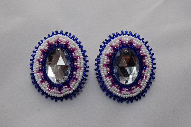 White and Blue with Pink Bling Earrings