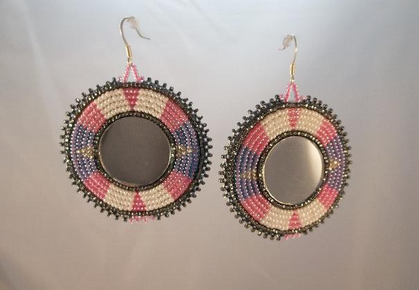 Pink and Purple Mirror Earrings