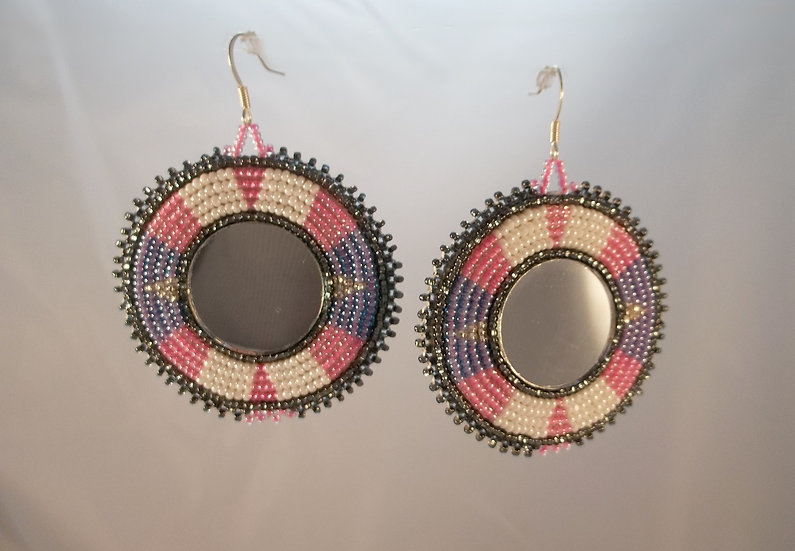Pink and Purple Mirror Earrings