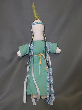 Doll with Blue Ribbon Dress
