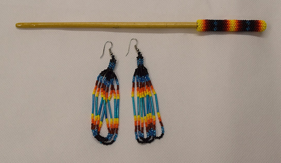 Beaded Earring & Hair Stick-Turquoise